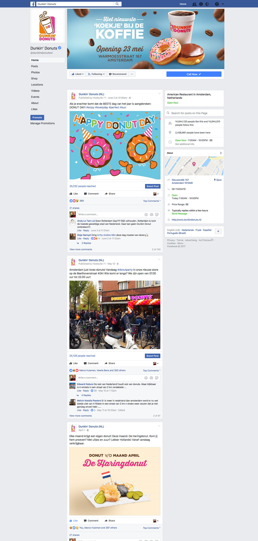 Dunkin' Donuts Nederland facebook